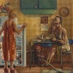 Quieres peras o melocotón. 1983. Óleo / lienzo 130 x 162 cm.