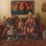 Familia. 1984. Óleo / lienzo 130 x 162 cm.