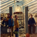 Obreros. 1984. Óleo / lienzo 146 x 114 cm