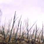 Serie Ceniza húmeda. 1992. Óleo / tela  60 x 200 cm.