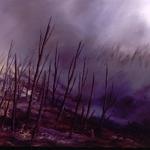 Serie Ceniza húmeda. 1992. Óleo / tela  60 x 180 cm.