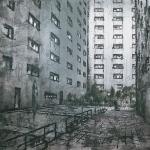 Jardín del manco. 2002. Técnica mixta / zinc. 1950 x 150 cm
