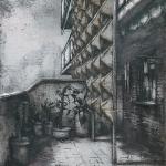 Moderno. 2002. Técnica mixta / zinc. 180 x 125 cm.