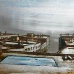 Sobre la ciudad, 2014. Técnica mixta sobre zinc, 60 x 90