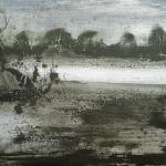 Ebro en verano. 2005. Técnica mixta / zinc 20 x 57 cm.