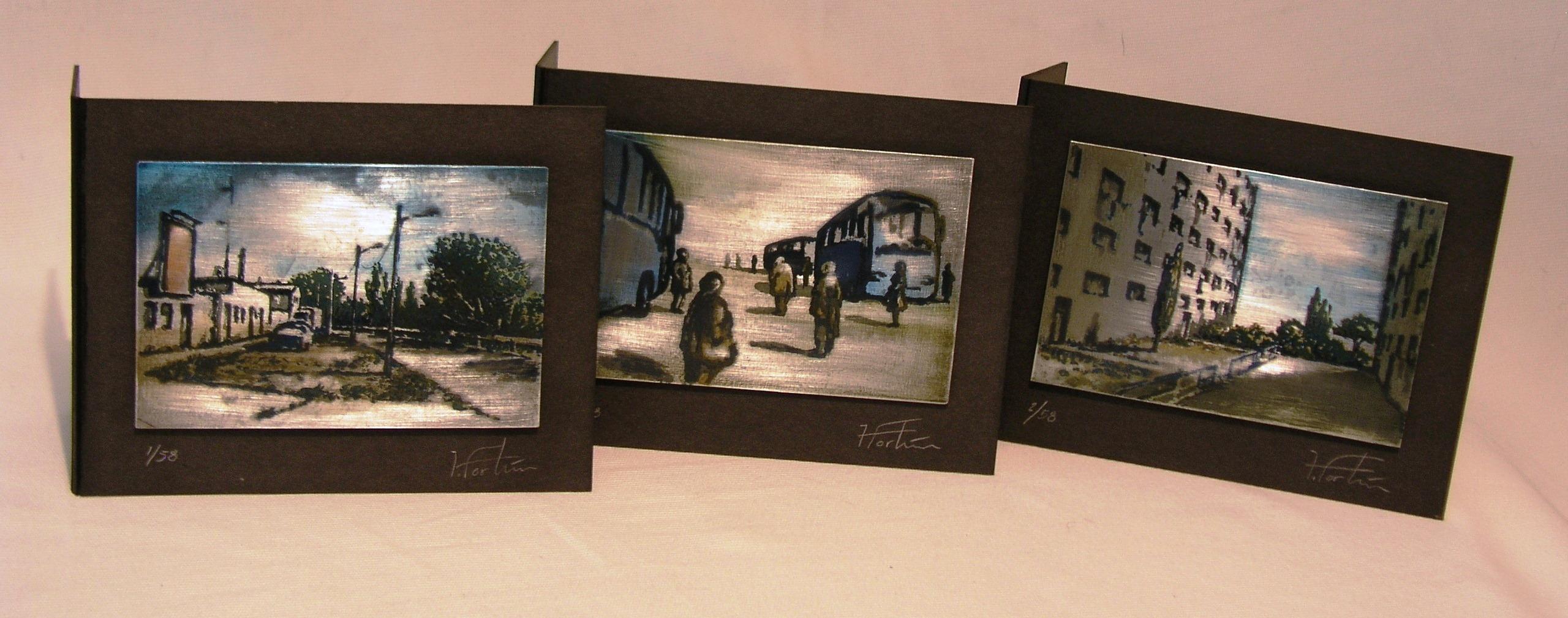zinc. postales regalo. metal, paisajes. serigrafia.